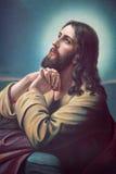 Bönen av Jesus i den Gethsemane trädgården Typisk cahtolic utskrivaven bild från slutet av 19 cent Fotografering för Bildbyråer