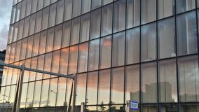 BNF architecture Paris Skies  mirror sunset clouds Royalty Free Stock Photography