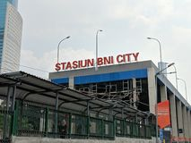 BNI City Station in Jakarta. Jakarta, Indonesia - April 7, 2019: Exterior of Stasiun BNI City airport train BNI City Station in Sudirman district royalty free stock images