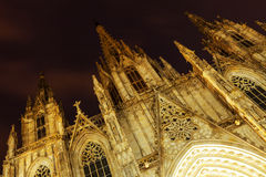 Bnight view of the Cathedral of the Holy Cross and Saint Eulalia Stock Image