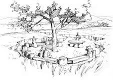 Bänk i trä Arkivfoton