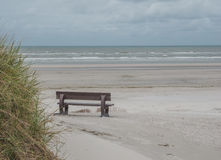 Bänk på stranden av Ameland Royaltyfria Bilder