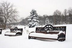 Bänke im Winter Stockfotografie