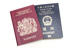 BNO and HKSAR passport Royalty Free Stock Images
