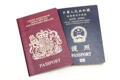 BNO- och HKSAR-pass Royaltyfria Bilder