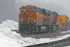 BNSF Diesel Engine Major Snow Storm Royalty Free Stock Photo