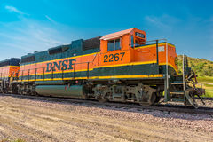 BNSF Diesel Locomotive 2267. Idling in Medora North Dakota stock image
