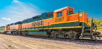BNSF Diesel Locomotive 2267 & 2374. Idling in Medora North Dakota stock photos