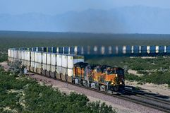 BNSF Doublestack Train on Curve royalty free stock photos