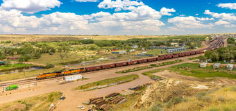 BNSF freight line up & facilities. Havre MT Stock Photo