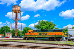 BNSF locomotive at Mendota yards. An idling BNSF locomotive at the Mendota, Illinois yard waiting for instructions before entering the yard Stock Photography