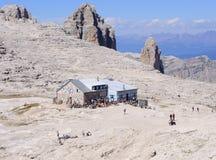 Boè del rifugio in trentino Italia Europa delle dolomia di sella del gruppo Immagini Stock Libere da Diritti