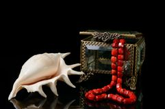 Boîte à bijoux avec le coeur du chapelet de corail rouge et coquille sur le fond noir Photographie stock libre de droits