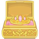 Boîte à bijoux avec princesse Accessories d'éléments de conte de fées de diadème Illustration Stock