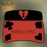 Boîte à bijoux de cercueil d'Alice Open Me Key de monde du pays des merveilles Image stock