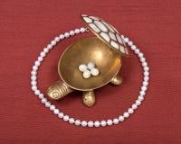 Boîte à bijoux de tortue et collier de perle Images stock
