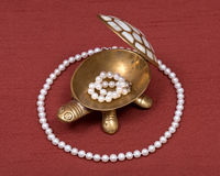 Boîte à bijoux de tortue et collier de perle Images libres de droits