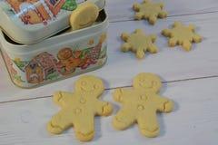 Boîte à biscuit de Noël avec des bonhommes en pain d'épice photographie stock libre de droits