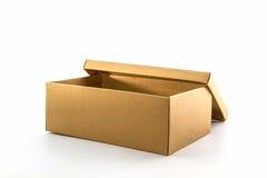Boîte à chaussures de Brown sur le fond blanc avec le chemin de coupure Photo libre de droits