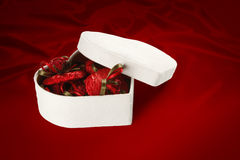 Boîte à chocolat de Saint-Valentin et de Noël (sur le fond rouge). Image libre de droits