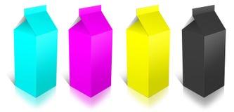 Boîte à lait de CMYK Photos libres de droits