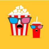 Boîte à maïs éclaté et caractères criards en verre de soude en verres 3D Style plat de conception d'icône de cinéma Photos stock
