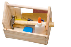 Boîte à outils en bois Photos stock