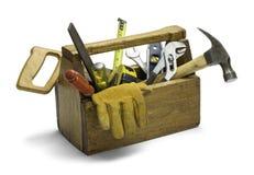 Boîte à outils en bois Photo stock