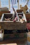 Boîte à outils en bois de vintage Photo libre de droits