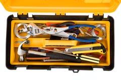 Boîte à outils jaune Images stock