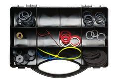 Boîte à outils noire en plastique photographie stock libre de droits