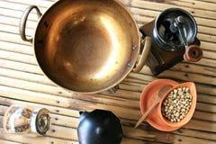 Boîte à outils pour préparer le café Photographie stock