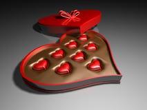 Boîte à sucrerie de coeur Photographie stock