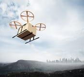 Boîte à télécommande de métier de blanc de ciel de vol de bourdon d'air de conception générique jaune de couleur de photo sous la Photographie stock
