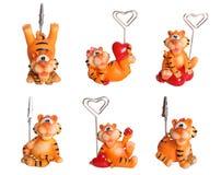 Boîte à textes d'isolement par souvenir heureux de tigre Images libres de droits