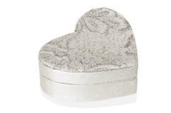Boîte argentée de coeur sur le fond blanc Photo libre de droits