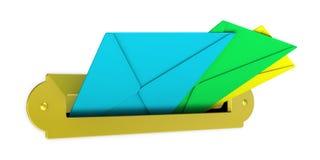 Boîte aux lettres avec des enveloppes Image stock