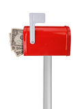 Boîte aux lettres avec l'indicateur et l'argent photographie stock libre de droits