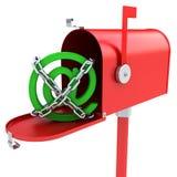 Boîte aux lettres avec le logo d'email à l'intérieur Images stock