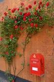 Boîte aux lettres avec les fleurs rouges Images libres de droits
