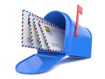 Boîte aux lettres bleue avec des courrier Image libre de droits
