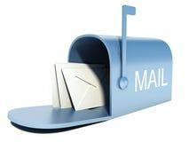Boîte aux lettres bleue avec des courrier d'isolement sur le blanc Photos libres de droits