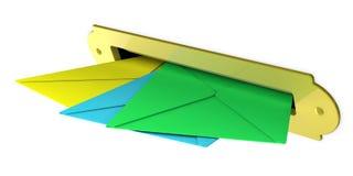 Boîte aux lettres et enveloppes Images stock