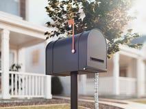 Boîte aux lettres fermée avec la grande maison et arbre vert sur le fond, rendu 3d Photographie stock libre de droits