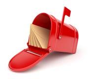 Boîte aux lettres rouge avec des lettres. illustration 3D Photographie stock libre de droits