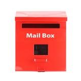 Boîte aux lettres rouge sur le fond blanc Photo libre de droits