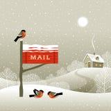 Boîte aux lettres sur le bord de forêt Photo stock