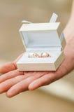 Boîte avec des anneaux de mariage dans des mains Photo libre de droits