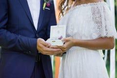 Boîte avec des anneaux de mariage dans des mains de marié et de jeune mariée Image libre de droits