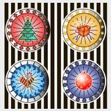 Boîte avec des cadeaux, arbre de Noël, sucrerie douce, boule de Noël Images libres de droits
